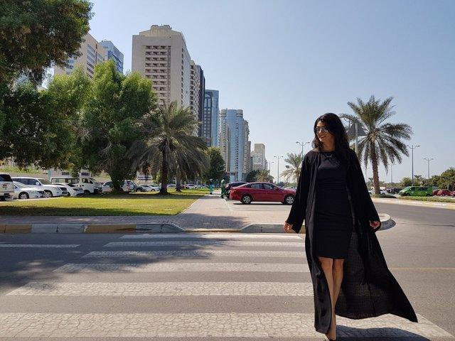 Andreea wearing_abaya_abu_dhabi