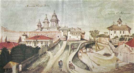 Mahalaua Radu Vodă, 1830, acuarelă, autor necunoscut | Sursa: Wikipedia, domeniu public