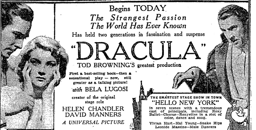 Poster la premiera Dracula, Universal Studios, 1931| Sursa: The Bela Lugosi Blog