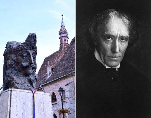 Stânga: Statuia lui Vlad Țepeș din Sighișoara | Credit foto: Mira Kaliani; Dreapta: Actorul Henry Irving | Sursa foto: Britannica