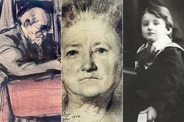 De la stânga: Portretul tatălui și al mamei artistului; Corneliu Baba, în copilărie   Sursa foto: corneliu-baba.org