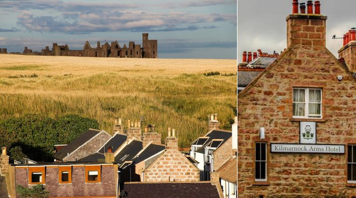 Stânga: Cruden Bay | Sursa: Bram Stoker Cruden Bay; Dreapta: Kilmarnock Arms Hotel | Sursa: The Times