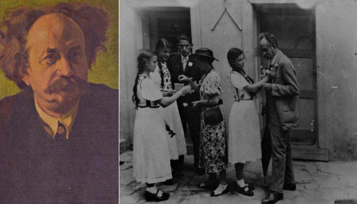 Stânga: Dr. Bacon, portret; Dreapta: Dr. Bacon alături de tineri din Sighișoara, în timpul unei festivități – Colecția Muzeului de Istorie din Sighișoara | Credit foto: Mira Kaliani