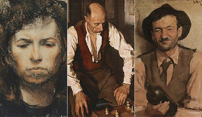 De la stânga: Soția artistului – 1957, Jucătorul de șah – 1948, Băutorul – 1935; Artist: Corneliu Baba   Sursa foto: corneliu-baba.org