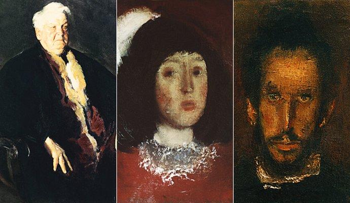 Portrete, de la stânga: Mihai Sadoveanu – 1953, Fata cu pană – 1970, Omul cu ochi verzi – 1973 ; Artist: Corneliu Baba   Sursa foto: corneliu-baba.org
