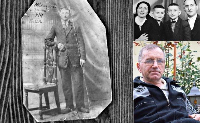 Stânga: Onu, fratele lui Samoilă, fotografie pe care și-a făcut-o când a ajuns în America, în 1914; Fotografie din colecția lui Radu Mârza | Sus: Silviu cu soția, Galeni, și cei doi fii; băiatul care zâmbește este Radu; Fotografie: Samoilă Mârza | Jos: Radu Mârza; Fotografie: Mira Kaliani