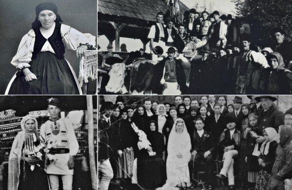 Stânga sus: Carolina, soția lui Onu; Dreapta sus: Plecarea tinerilor în armată; Jos: Nunți | Fotografii: Samoilă Mârza