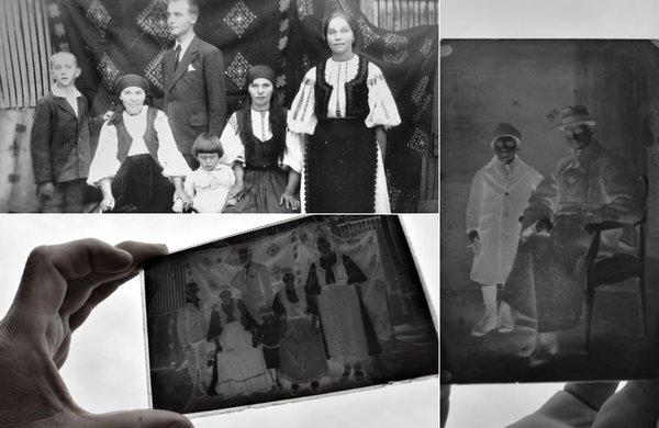 Stânga sus: Băiatul cel mic, din stânga, este Silviu, ultimul copil al lui Onu și tatăl lui Radu Mârza; Celelalte două imagini sunt clișee pe sticlă, păstrate de Radu Mârza | Fotografii: Samoilă Mârza