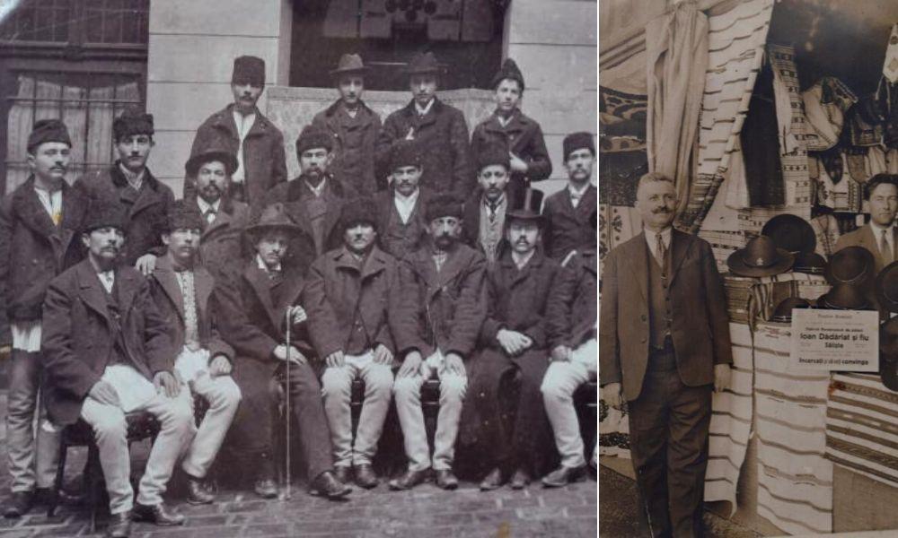 Stânga: Meseriași români la Budapesta, 1904; Dreapta: Ion Dădărlat, pălărier, și unul dintre fii, la o expoziție în București, în 1935 | Foto după imagini originale: Mira Kaliani