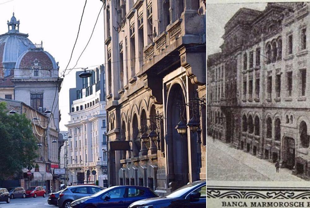 Stânga: Strada Doamnei cu palatul construit pentru Banca Marmorosch Blank; Foto: Mira Kaliani | Dreapta: Banca Marmorosch Blank, Sursa: Ziarul National