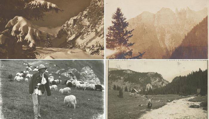 Sus: Iarna în Bucegi; Sursa foto: Atelier Photo Presse/Fotograf M.G. Vesa/Al. Bădăuţă, Images Roumaines, 1932/ MNIR/Imago Romaniae   Colții Morarului; Sursa foto: Fotblitz Zărnești/MNIR/Images RoumainesJos: Cioban în Bucegi, 1925; Sursa foto: MNIR/Imago Romaniae   Munții Bucegi, Colții Morarului, 1930; Sursa foto: Atelier Fotblitz Zărnești/MNIR/Imago Romaniae   Munții Bucegi, Fereastra Călugărului, 1930; Sursa foto: MNIR/Imago Romaniae