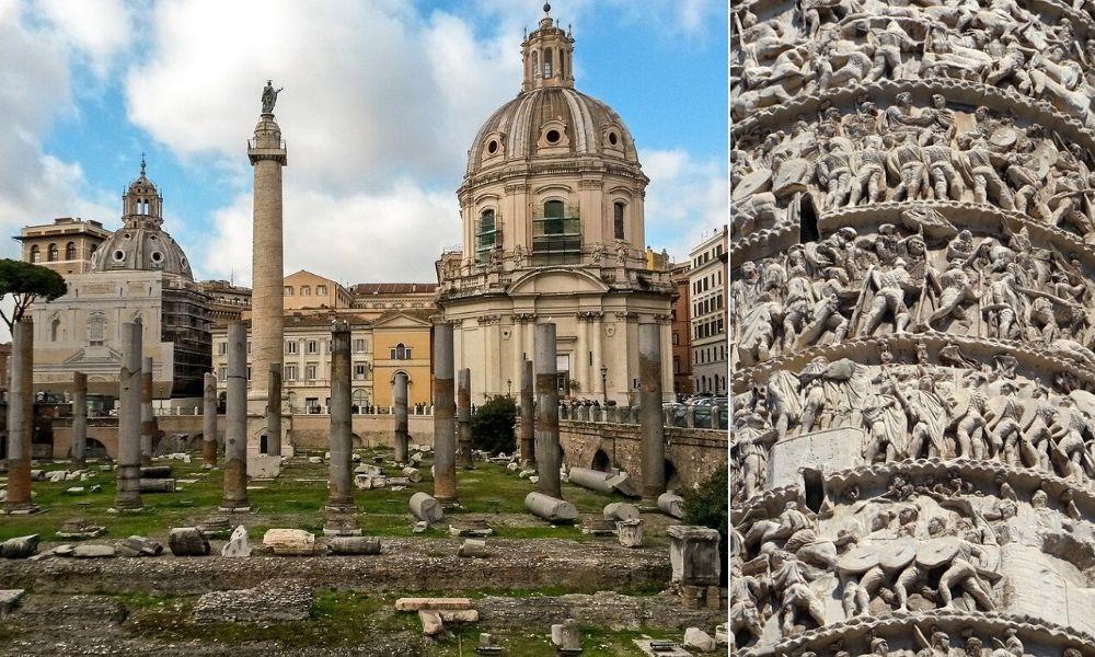 Columna lui Traian din Roma, Italia | Foto dreapta: Valter Cirill/Pixabay, Foto stânga: Pascal Ohlmann/Pixabay