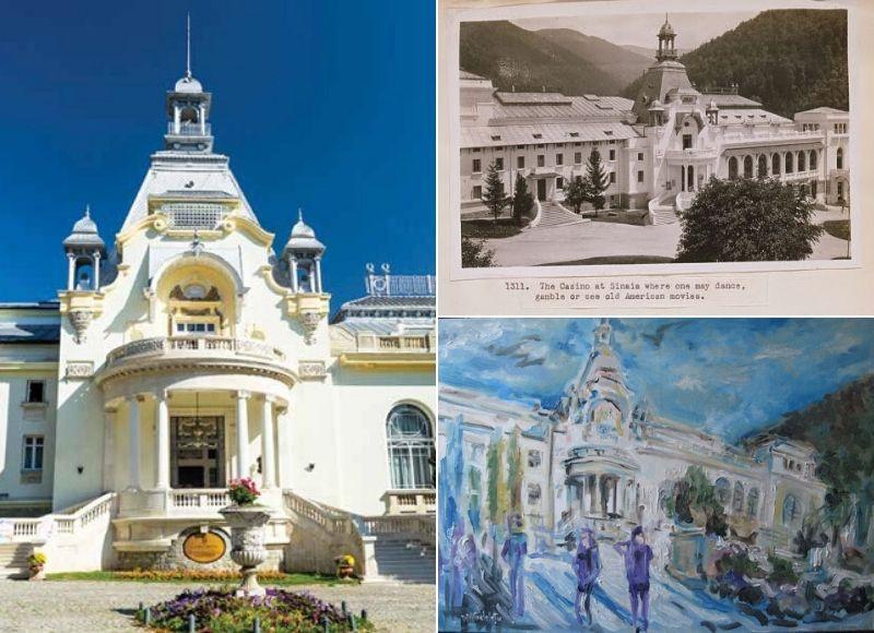 Stânga: Cazinoul din Sinaia; Sursa: Casino Sinaia | Dreapta sus: Cazinoul; Sursa: Vechiul Regat | Dreapta jos: Pictură a artistului arh. Dan Gelelețu; Sursa: Casino Sinaia