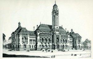 Proiectul pentru Primăria Capitalei, 1912 | Sursa: Petre Antonescu, Clădiri, construcții, proiecte și studii/Arhitectura-1906.ro
