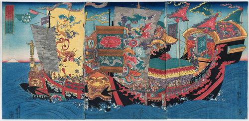 Plecarea alchimistului Xu Fu în căutarea ierburilor magice pentru o viață veșnică. Artist: Utagawa Kuniyoshi, c. 1843 | Sursa: Wikipedia, domeniu public