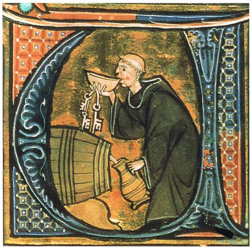 Un chelar care bea vin din butoi. Ilustrație dintr-un manuscris medieval francez, secolul al XIII-lea | Wikipedia Commons
