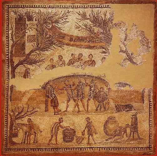 Banchet în aer liber, fragment de mozaic din secolul al IV-lea