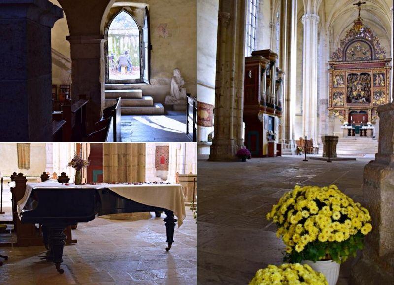 Imagini din interiorul bisericii; Sus: în curte, moșu Ion jucând table cu un prieten | Foto: Mira Kaliani