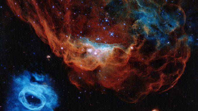 Această imagine este unul dintre cele mai fotogenice exemple ale numeroaselor creșe stelare pe care telescopul spațial Hubble NASA / ESA le-a observat pe parcursul celor 30 de ani de viață. Imaginea prezintă nebuloasa uriașă NGC 2014 și pe vecina sa NGC 2020 care împreună fac parte din Marele Nor al lui Magellan, galaxia-satelit a Căii Lactee, aflată la 163.000 de ani-lumină de Pământ și unde se formează stele. Foto: NASA, ESA și STScI
