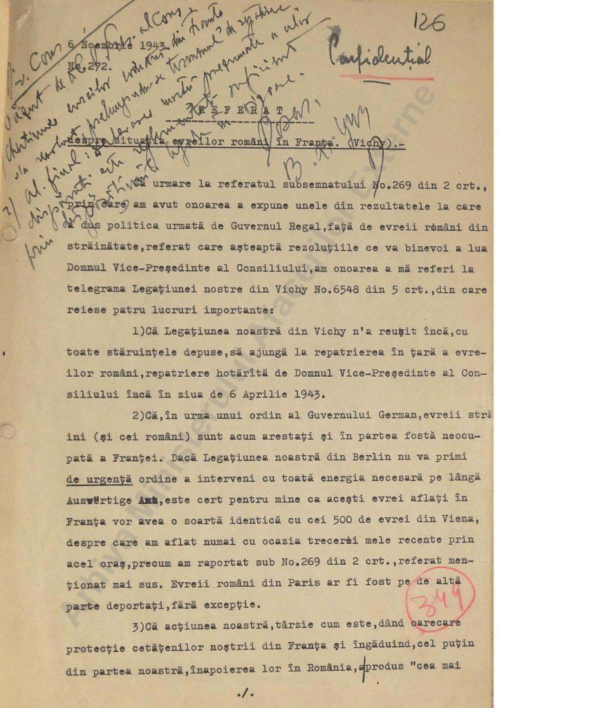 Referat confidențial al lui Constantin Karadja, prin care acesta încerca să îl influențeze pe Mihai Antonescu să îi salveze pe cetățenii români de origine evreiască din Franța, amenințați de deportarea în lagărele de exterminare naziste (AMAE)