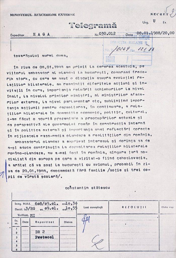 8 ianuarie 1988 – Telegramă de la Ambasada României la Haga privind întâlnirea cu noul ambasador numit al Țărilor de Jos în România, Coen (Coenraad Frederik) Stork (AMAE).