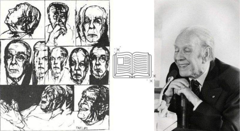 JorgeLuisBorges stânga: Jorge Luis Borges, ilustrații de Roberto Páez din volumul Twenty-four Conversations with Borges de Roberto Alifano, 1984 | dreapta: Jorge Luis Borges, fotografie din volumul Sognare e scrivere